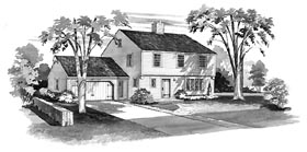 House Plan 90216 with 4 Beds, 3 Baths, 2 Car Garage Elevation