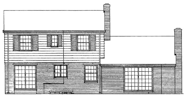 Colonial, Country House Plan 90217 with 4 Beds, 3 Baths, 2 Car Garage Rear Elevation