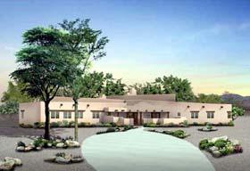 Santa Fe Southwest House Plan 90218 Elevation