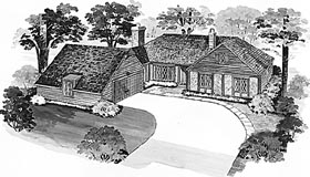 House Plan 90221 | Bungalow Tudor Style Plan with 1646 Sq Ft, 3 Bedrooms, 3 Bathrooms Elevation