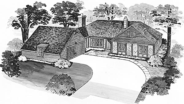 Bungalow Tudor House Plan 90221 Elevation