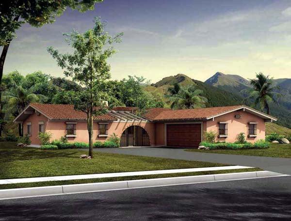 Elevation of Prairie Style   Santa Fe   Southwest   House Plan 90222