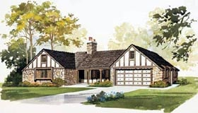 Ranch , European , Country House Plan 90225 with 3 Beds, 3 Baths Elevation