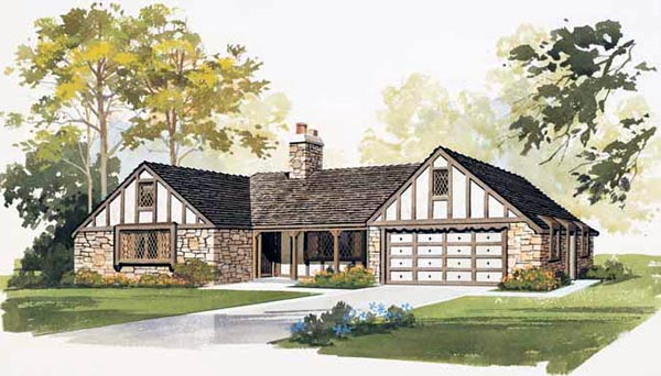 Country European Ranch House Plan 90225 Elevation