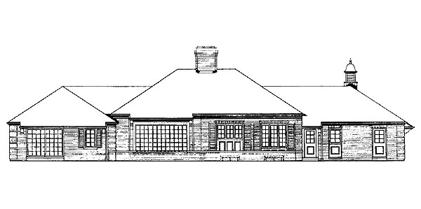 Traditional Rear Elevation of Plan 90227