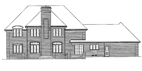 Colonial European Southern House Plan 90232 Rear Elevation