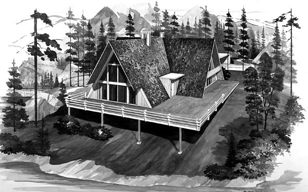 A-Frame House Plan 90233 with 5 Beds , 3 Baths , 2 Car Garage Elevation