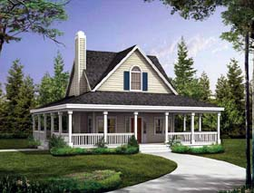 Country , Farmhouse , Southern House Plan 90234 with 2 Beds, 3 Baths Elevation