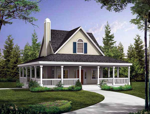 Country , Farmhouse , Southern , Elevation of Plan 90234