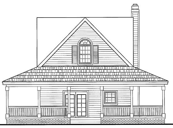 Country , Farmhouse , Southern , Rear Elevation of Plan 90234