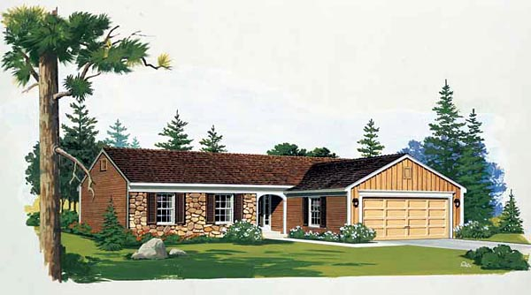 Ranch House Plan 90235 Elevation