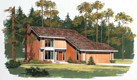 House Plan 90236 | Contemporary Style Plan with 1999 Sq Ft, 3 Bedrooms, 3 Bathrooms, 2 Car Garage Elevation