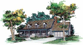 Cape Cod , Country House Plan 90237 with 3 Beds, 3 Baths, 2 Car Garage Elevation