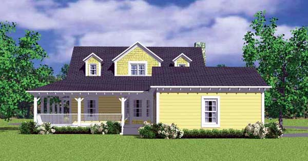 House Plan 90239 | Country Victorian Style Plan with 1673 Sq Ft, 3 Bedrooms, 2 Bathrooms, 2 Car Garage Rear Elevation
