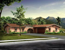 Mediterranean , Ranch , Santa Fe , Southwest House Plan 90240 with 3 Beds, 3 Baths, 2 Car Garage Elevation