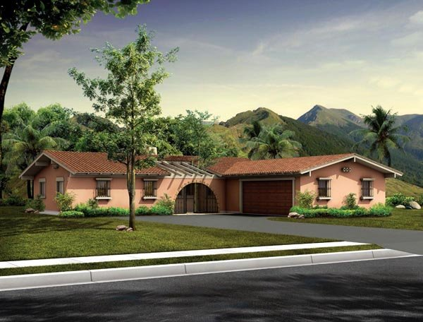Mediterranean Ranch Santa Fe Southwest House Plan 90240 Elevation