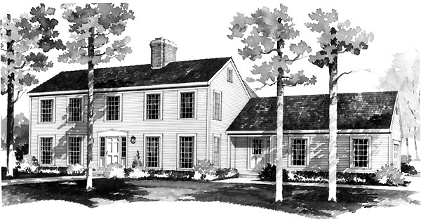 House Plan 90241 | Colonial Style Plan with 2598 Sq Ft, 4 Bedrooms, 3 Bathrooms, 2 Car Garage Elevation
