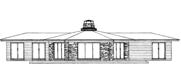 House Plan 90242 | Contemporary Ranch Style Plan with 1400 Sq Ft, 3 Bedrooms, 2 Bathrooms Rear Elevation