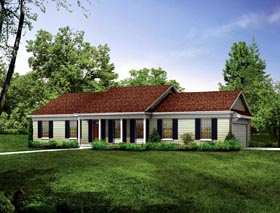 House Plan 90243 | Country Ranch Style Plan with 1536 Sq Ft, 3 Bedrooms, 2 Bathrooms, 2 Car Garage Elevation
