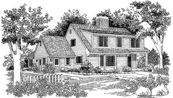 Cape Cod Country House Plan 90244 Rear Elevation