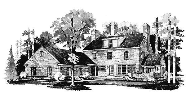 Colonial House Plan 90246 Rear Elevation