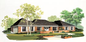 Ranch House Plan 90247 with 3 Beds, 3 Baths, 2 Car Garage Elevation