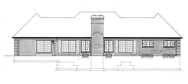 Ranch House Plan 90247 with 3 Beds, 3 Baths, 2 Car Garage Rear Elevation