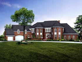 House Plan 90258 | European Style Plan with 5649 Sq Ft, 4 Bedrooms, 5 Bathrooms, 3 Car Garage Elevation