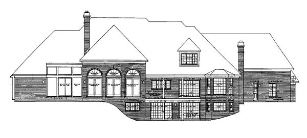 House Plan 90258 | European Style Plan with 5649 Sq Ft, 4 Bedrooms, 5 Bathrooms, 3 Car Garage Rear Elevation