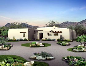 Santa Fe Southwest House Plan 90259 Elevation