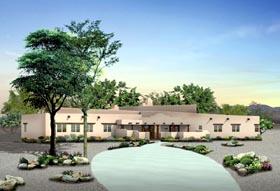 Santa Fe Southwest House Plan 90260 Elevation