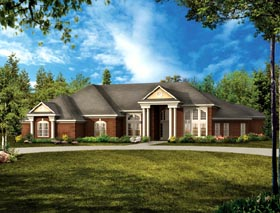 Colonial Ranch Traditional House Plan 90263 Elevation