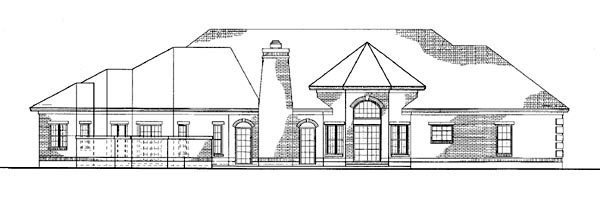 Colonial Ranch Traditional House Plan 90263 Rear Elevation