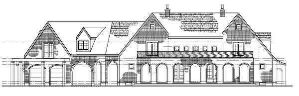 House Plan 90266 | European Traditional Style Plan with 2361 Sq Ft, 5 Bedrooms, 5 Bathrooms, 2 Car Garage Rear Elevation