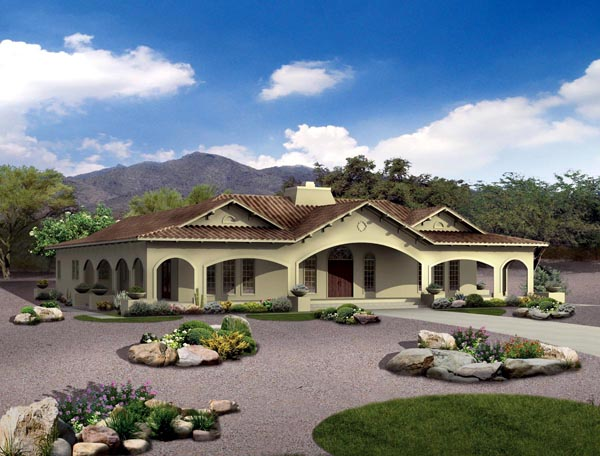 Mediterranean Ranch Southwest House Plan 90269 Elevation