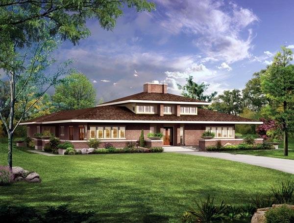 Craftsman prairie style house plan 90270 for Prairie style garage plans