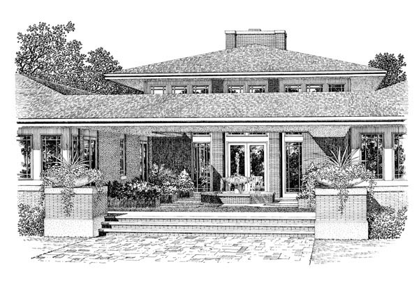 Craftsman Prairie Style House Plan 90270 Rear Elevation