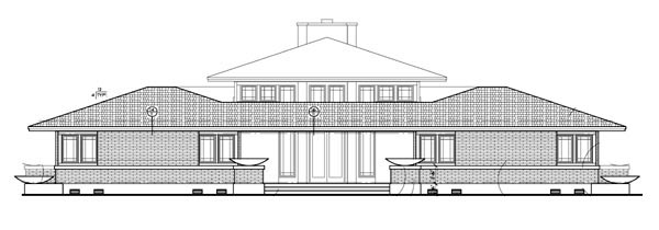 Craftsman Prairie Style Southwest House Plan 90271 Rear Elevation