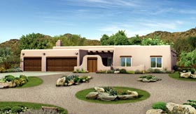House Plan 90272 | Santa Fe Southwest Style Plan with 2945 Sq Ft, 4 Bedrooms, 3 Bathrooms, 3 Car Garage Elevation