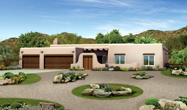 Santa Fe Southwest House Plan 90272 Elevation