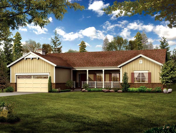 Country Ranch House Plan 90274 Elevation