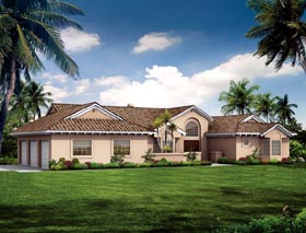 Mediterranean Ranch Southwest House Plan 90275 Elevation