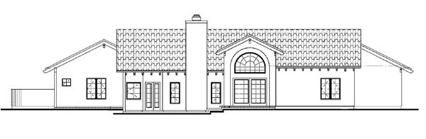 Mediterranean Ranch Southwest House Plan 90275 Rear Elevation