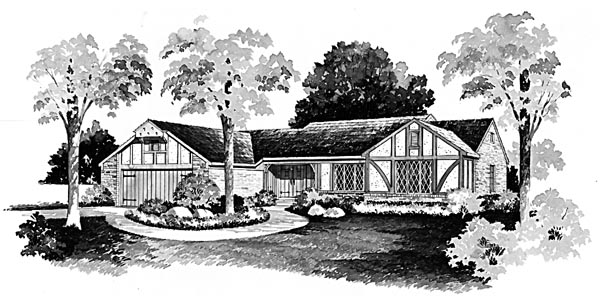 One-Story Ranch Elevation of Plan 90276