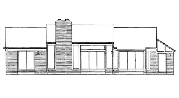 One-Story Ranch Rear Elevation of Plan 90276