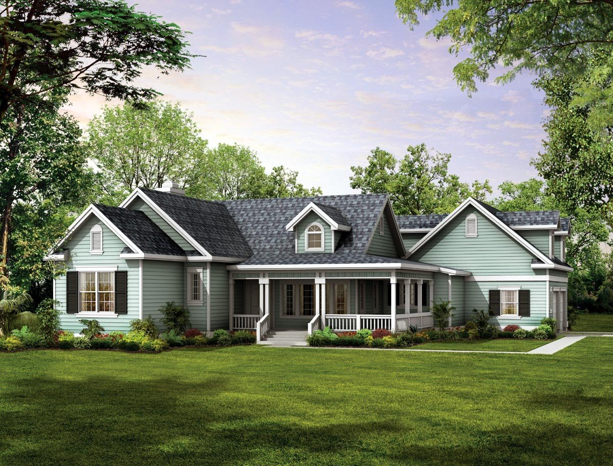 House plan 90277 at for One story country house plans with porches