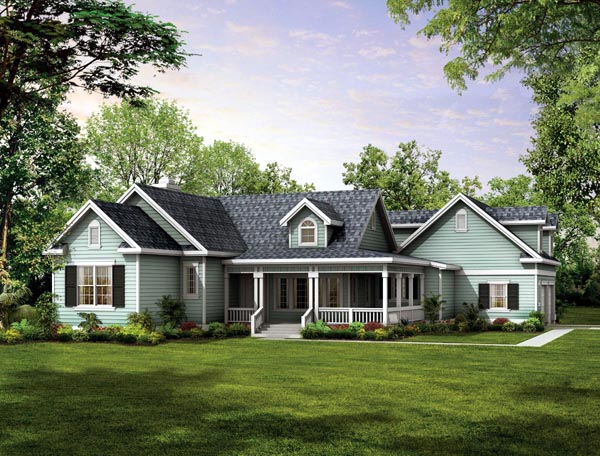 Country , Farmhouse , Victorian House Plan 90277 with 3 Beds, 2 Baths, 2 Car Garage Elevation
