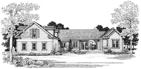 Country , Farmhouse , Victorian House Plan 90277 with 3 Beds, 2 Baths, 2 Car Garage Rear Elevation
