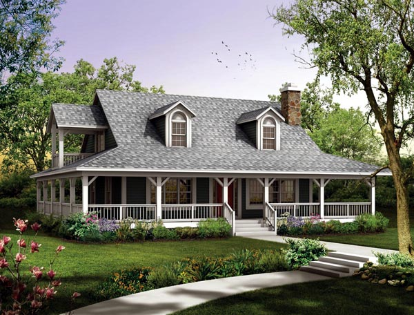 Country, Modern Farmhouse House Plan 90280 with 3 Beds, 2 Baths Elevation