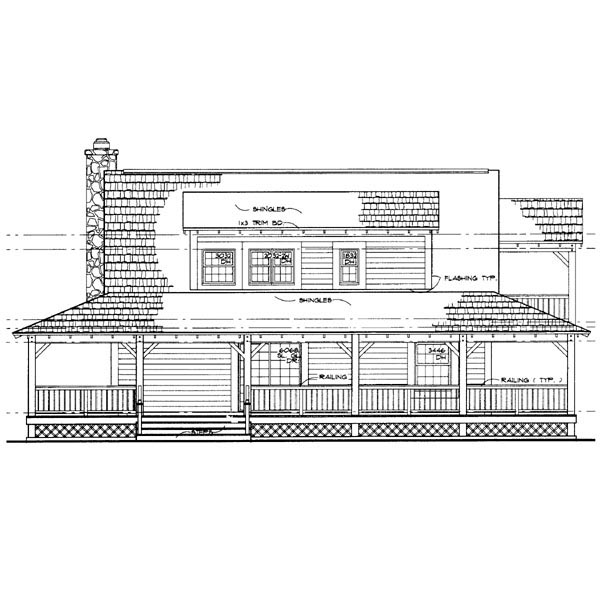 Country Farmhouse House Plan 90280 Rear Elevation